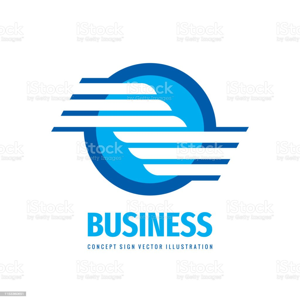 Business icon design. Abstract wing in circle. Transport dynamic sign.