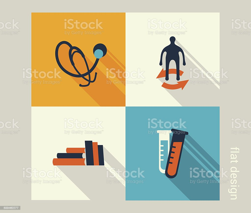 Business icon set. Healthcare, medicine, checkup. Flat design royalty-free stock vector art