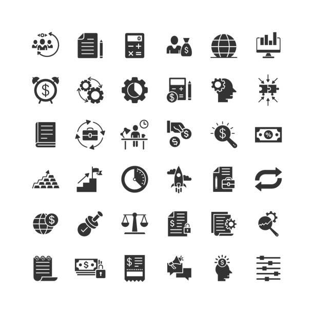 ilustraciones, imágenes clip art, dibujos animados e iconos de stock de icono de negocio en estilo plano. dinero, gente, documento de ilustración vectorial sobre fondo blanco aislado. concepto de negocio de diagrama de freelancer. - suministros escolares