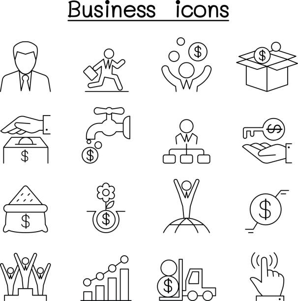 Business icon set in thin line style Business icon set in thin line style bonus march stock illustrations