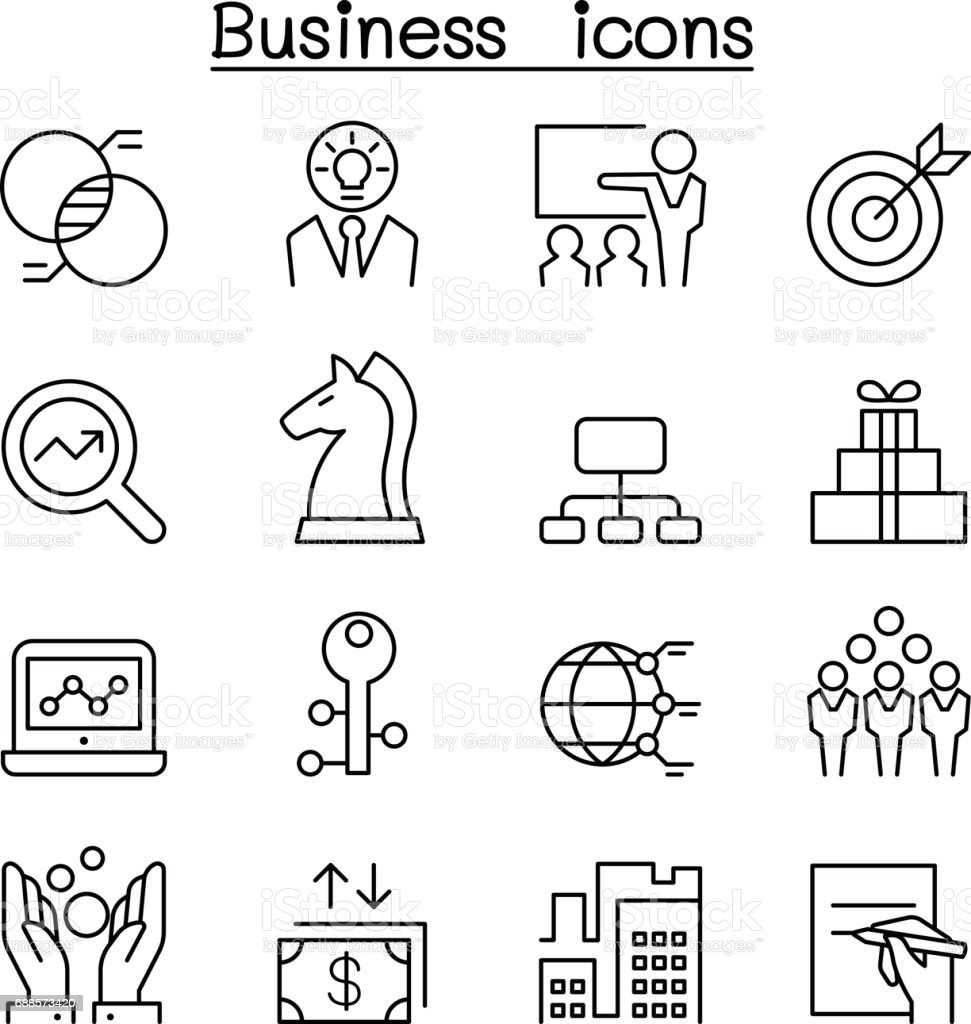 Business icon set in thin line style vector art illustration