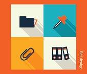 Business icon set. Software and web development, marketing, glob