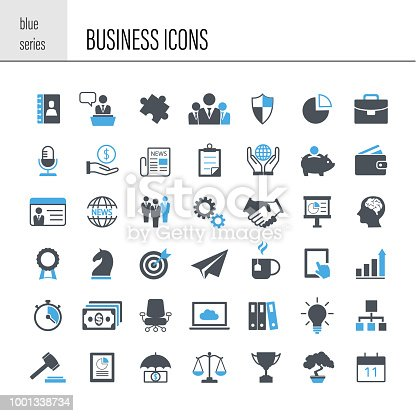 Business icon set. Simple series
