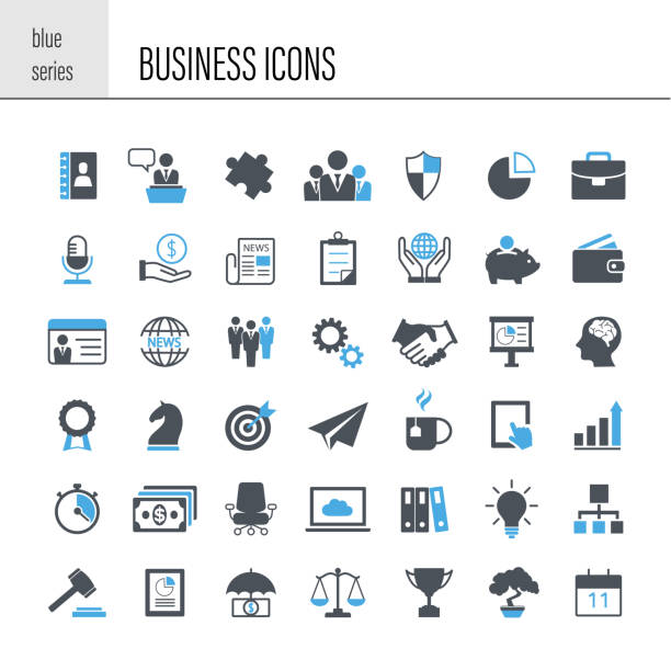 business icon set - business icons stock illustrations, clip art, cartoons, & icons