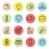 Line business icons inside colorful circles.
