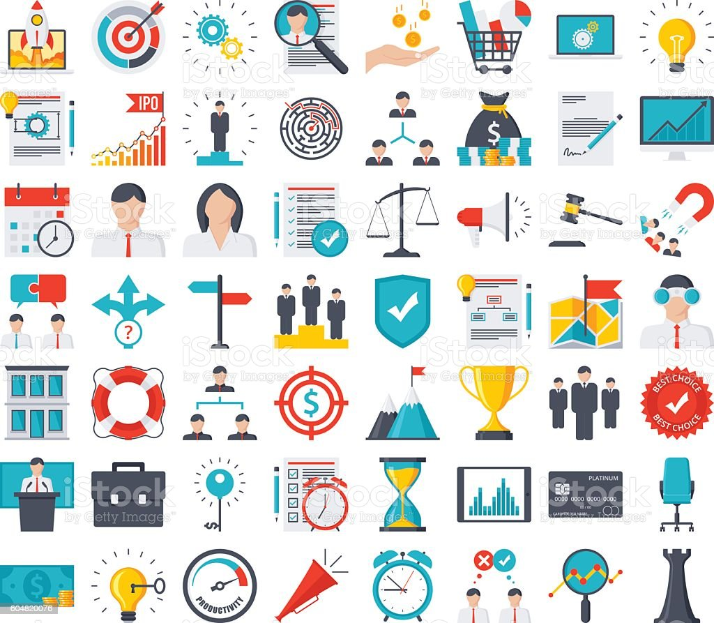 Business Icon Set  - Lizenzfrei Aktentasche Vektorgrafik