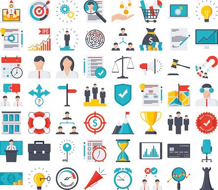 Business Icon Set Stock Vektor Art und mehr Bilder von Aktentasche