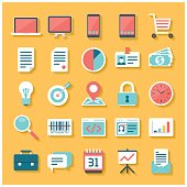 A set of 25 business related icon set with shadow. Icons are grouped individually.