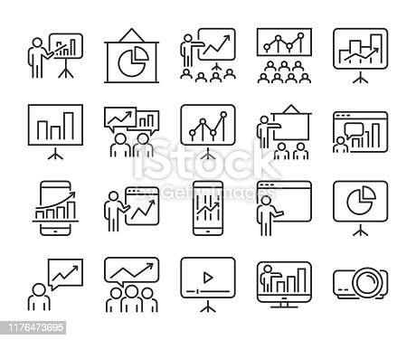 20 Business icons. Business Presentation line icon set. Vector illustration