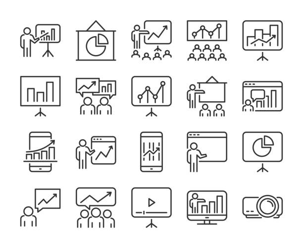 20 Business icons. Business Presentation line icon set. Vector illustration. 20 Business icons. Business Presentation line icon set. Vector illustration presentation stock illustrations
