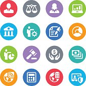 Set of 16 Business simple vector icons placed on colorful circles. Easy resize. There are icons: sign of Gavel, Businessman icon, Businesswoman icon, Contract icon, sign of Bank, sign of Laptop with graph on screen, Weight Scale sign, Money sign, Safety of Personal Data, sign of Calculator.
