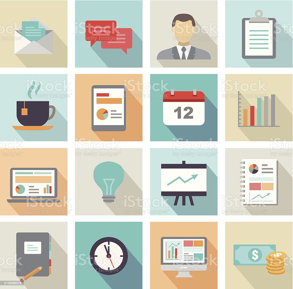 Business Icons Flat Design vector art illustration