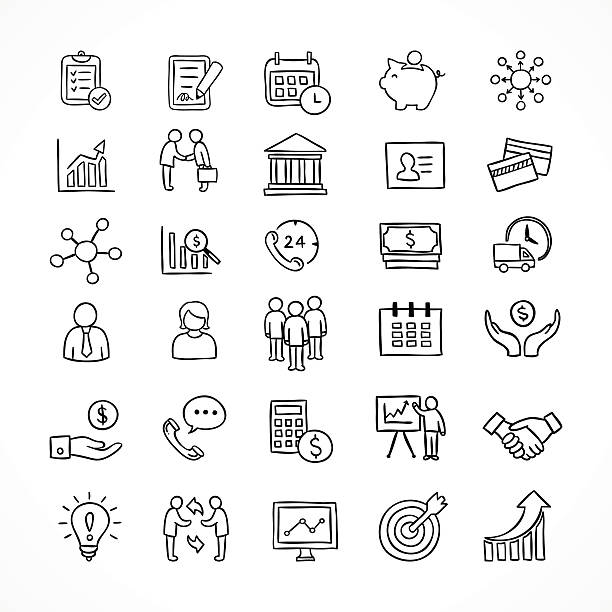 Business icons hand drawn vector set. Office and finance symbols Business icons hand drawn vector set. Office and finance symbols banking drawings stock illustrations