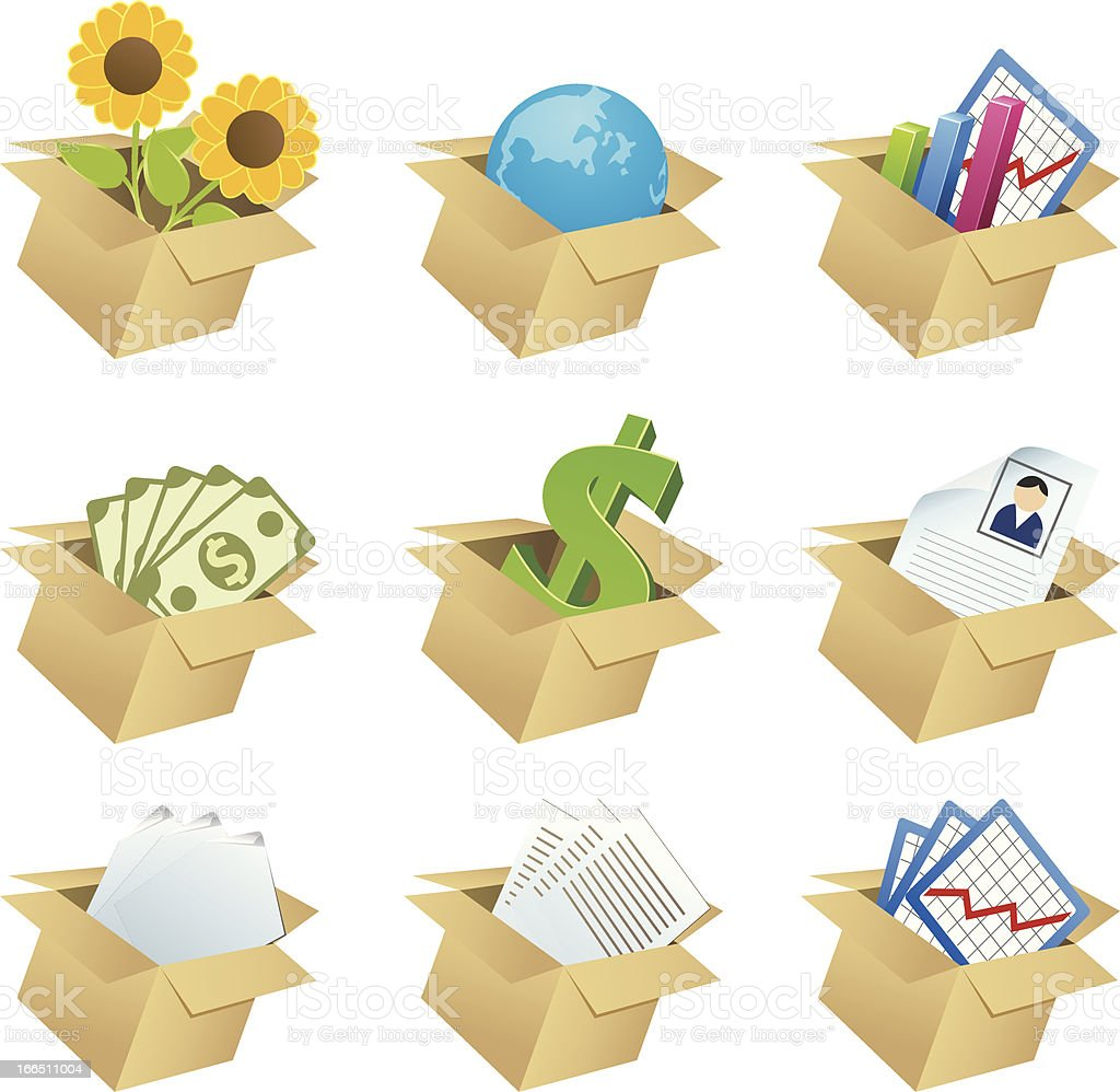 Business icons in boxes - 1 royalty-free stock vector art