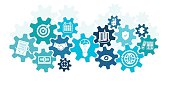 Business icons in cog wheel, business mechanism concept, machine part, gears and icons for strategy, shake hands, watch a contract, come to an agreement, business thriving, give the target, gears, vibrant Color, service, analytics, technology, research, seo,  media, social networking, digital marketing, communicate concepts, digital marketing,digital communication - Concept. Very easy to manipulate, elements are on a different layers.