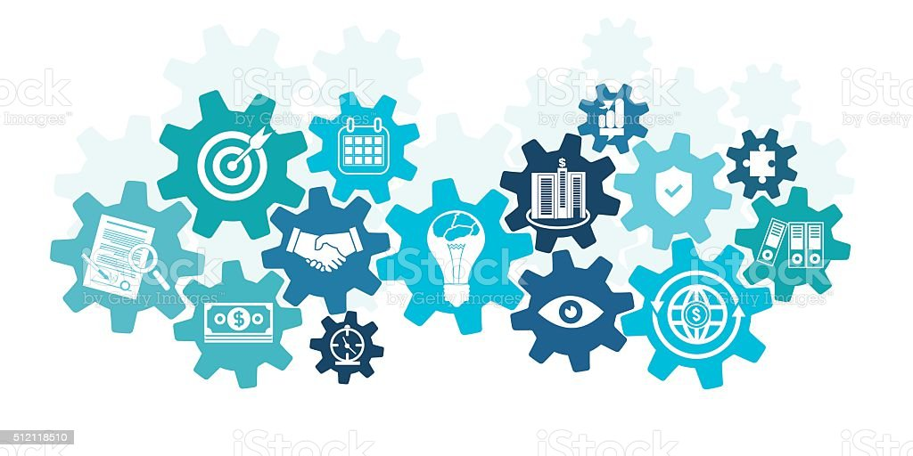 Business icons in cog wheel vector art illustration