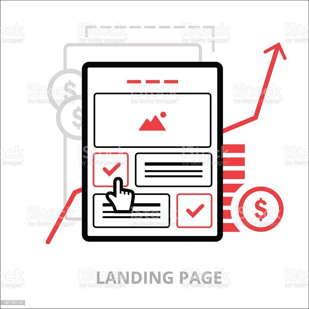 Business icons. Landing page. Flat vector illustration. Outlined IT icons vector art illustration