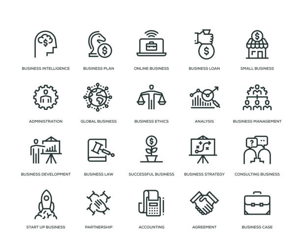 business icons - line series - small business stock illustrations