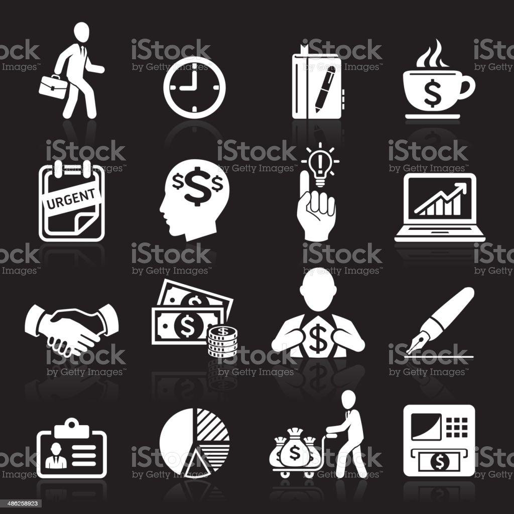 Business-Symbole, management und Personalwesen weiße Symbole. – Vektorgrafik