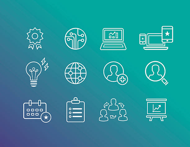 Business Icons Outline Icons for strategically marketing and analysis performing arts event stock illustrations