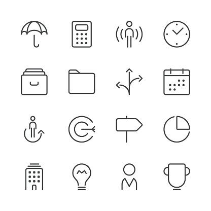 Business icons set 1   Black Line series