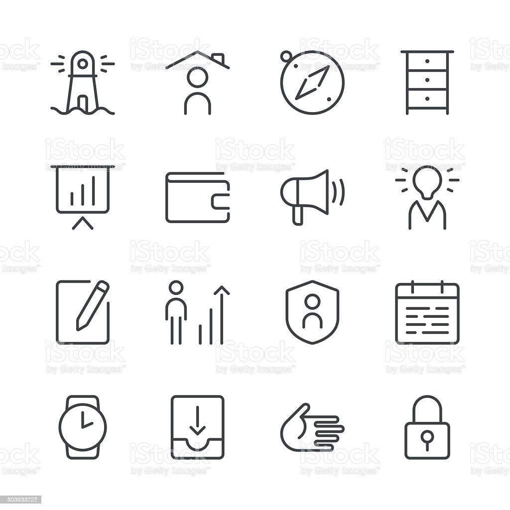 Icônes d'affaires set 1-série Black Line - Illustration vectorielle