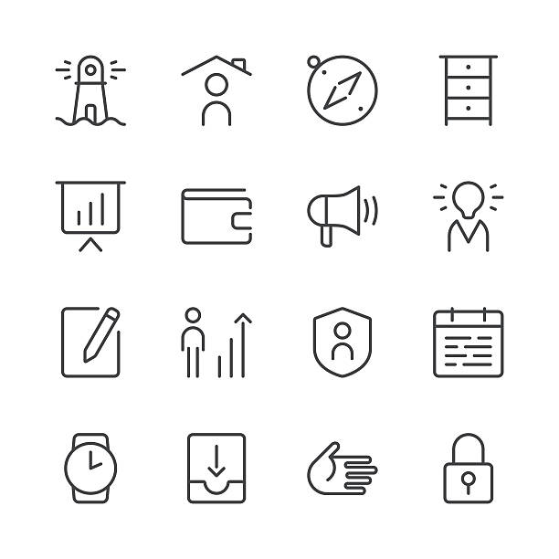 business icons set 1 | black line series - work from home stock illustrations