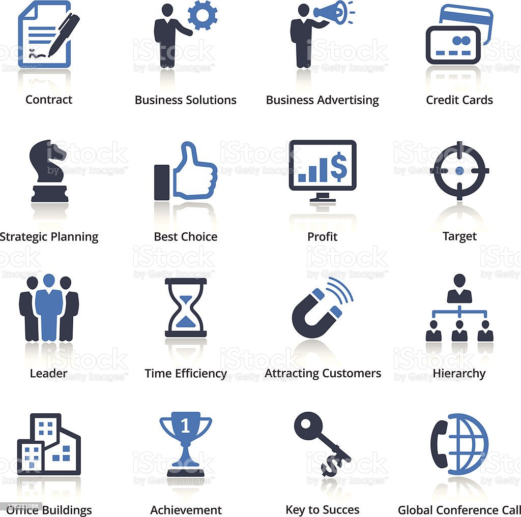 Business Icons Set 2 - Blue Series royalty-free stock vector art