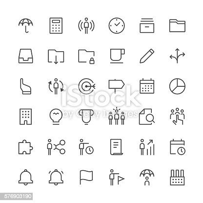 Set of 36 pixel perfect icons with a thin line design