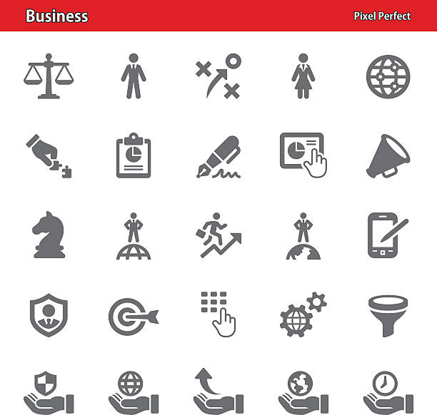 Business Icons - Set 2 Professional, pixel perfect icons depicting various business concepts (optimized for both large and small resolutions). chess knight silhouette stock illustrations