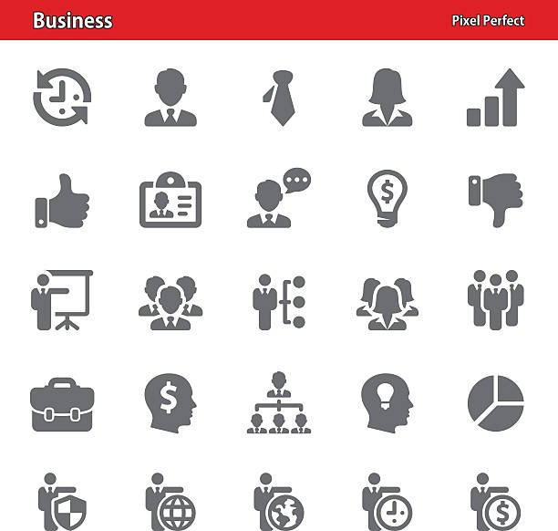 bildbanksillustrationer, clip art samt tecknat material och ikoner med business icons - set 3 - kvinna tillfreds