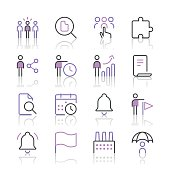 Business icons set 4 | Purple Line series