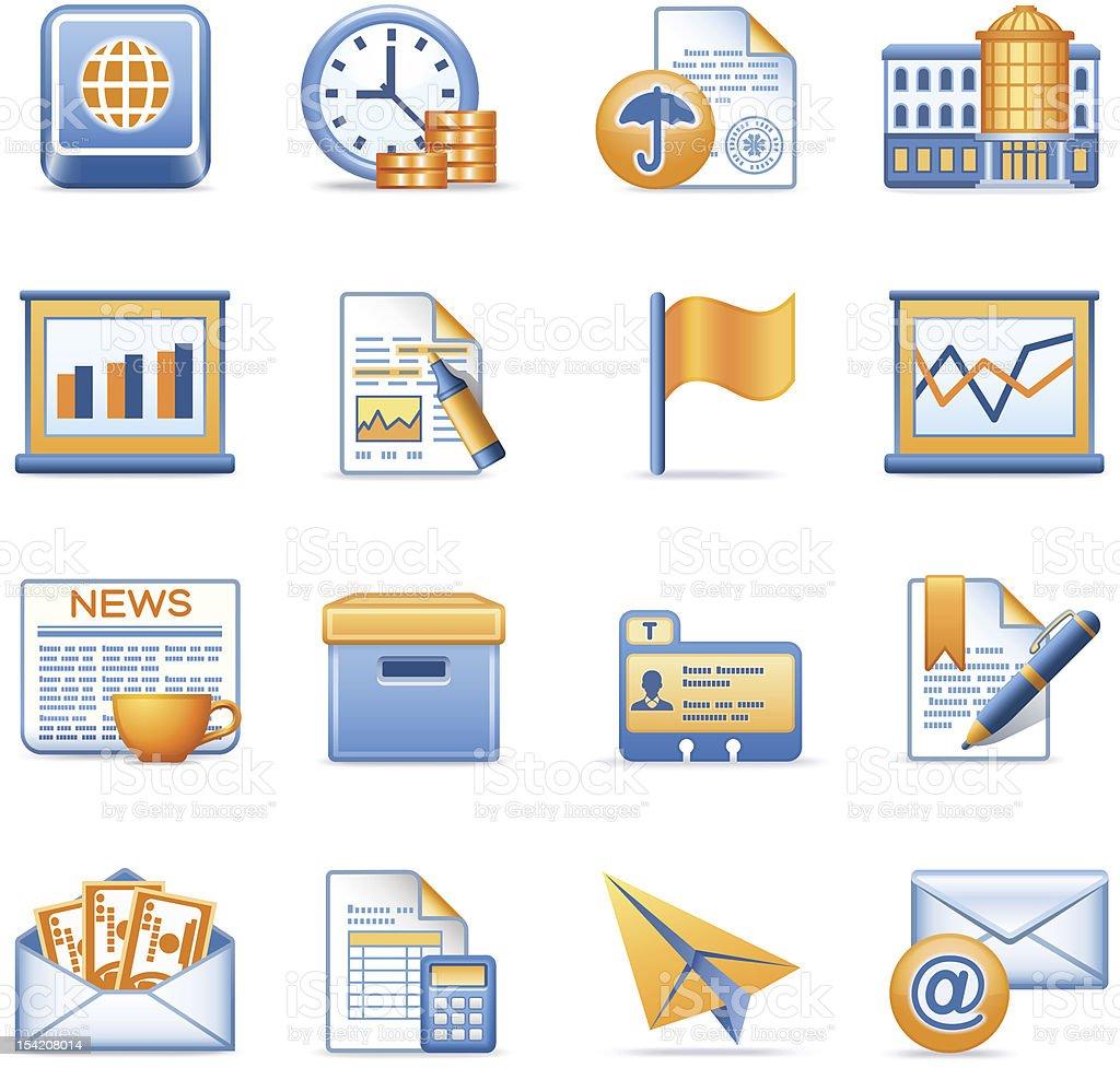 Business icons set 5. Blue orange series. vector art illustration