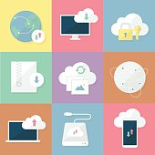 Business icons set. Download and cloud storage. Flat vector illustration.
