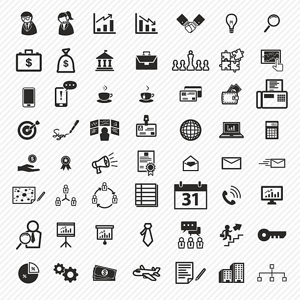비즈니스 아이콘 세트를 일러스트레이션 eps10 - 금고 보안 장비 stock illustrations
