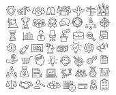 Business icons set in line style. Icons for business, management, career, finance, strategy, banking, marketing