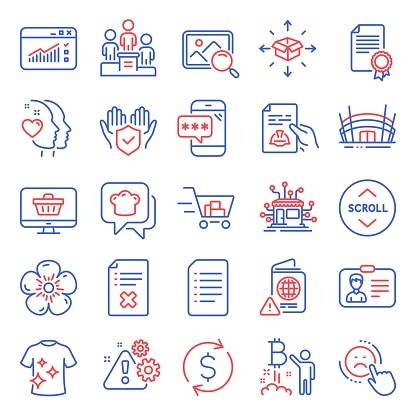 Business icons set. Included icon as Clean t-shirt, Certificate, Reject file. Vector