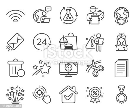 Business icons set. Included icon as Seo target, Medal, E-mail signs. Copy files, Wifi, Fireworks stars symbols. Chemistry experiment, Hospital nurse, Seo timer. Discount, 24 hours. Vector