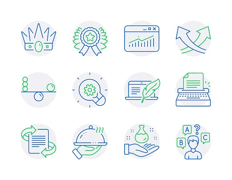 Business icons set. Included icon as Typewriter, Chemistry lab, Marketing signs. Vector