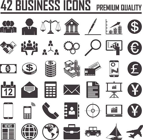 42 business icons set.  premium-qualität - euros cash stock-grafiken, -clipart, -cartoons und -symbole
