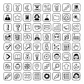 Business icons set. Vector. Hand drawn.