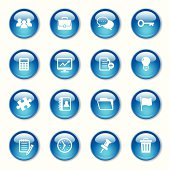 An illustration of Business & Office crystal button set for your web page, presentation, & design products.