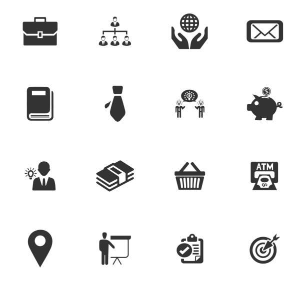 ilustrações, clipart, desenhos animados e ícones de conjunto de ícones de negócios - brigadeiro