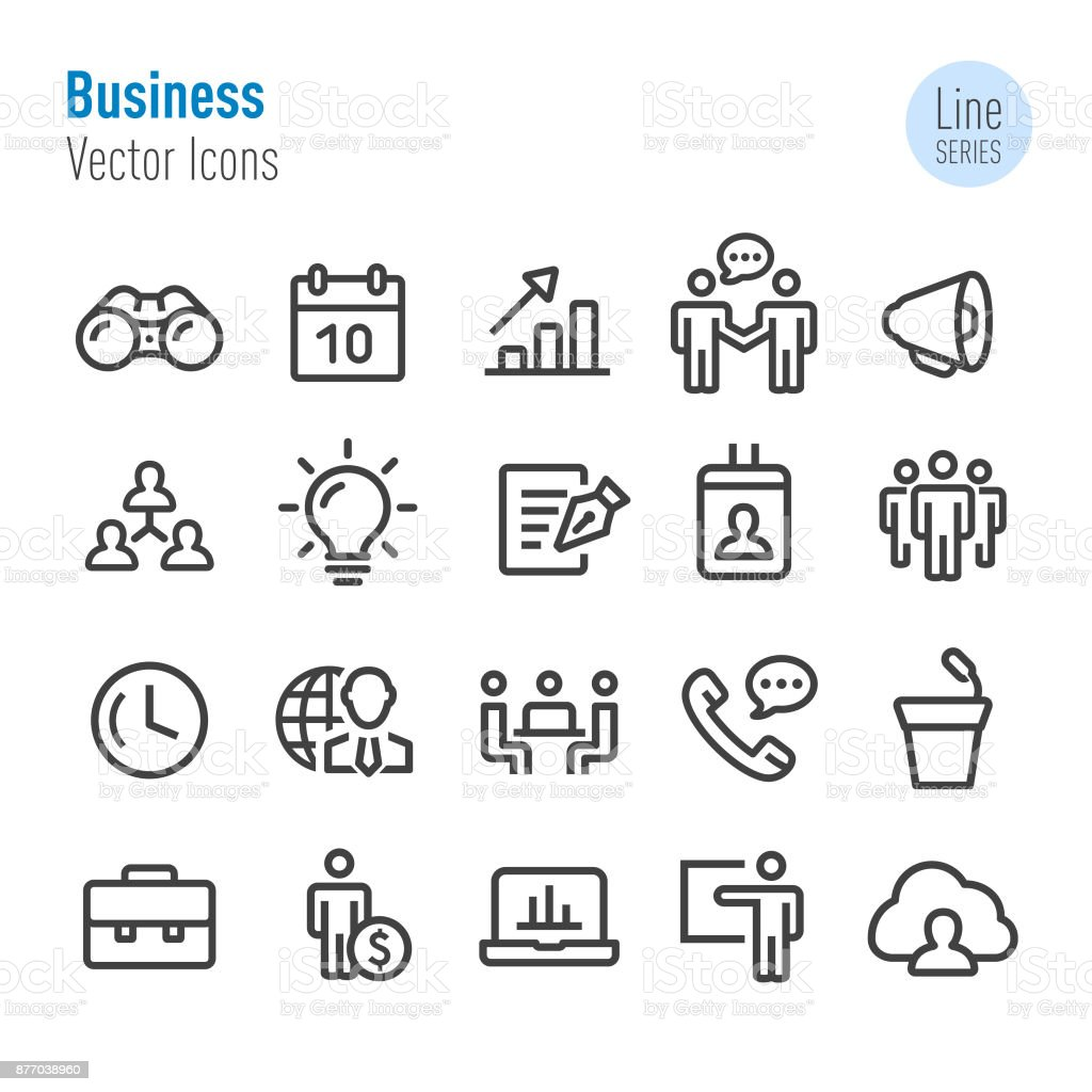 Business Icons Set - Vector Line Series vector art illustration
