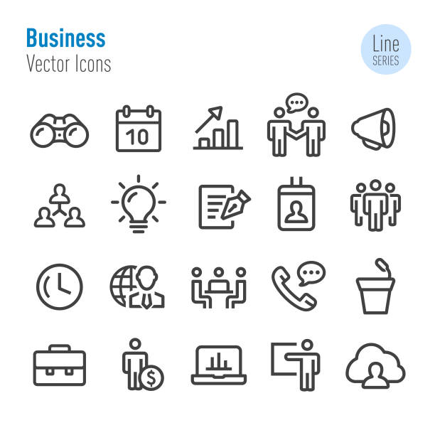 Business Icons Set - Vector Line Series Business, Strategy, Solution, Management, Teamwork, binoculars stock illustrations