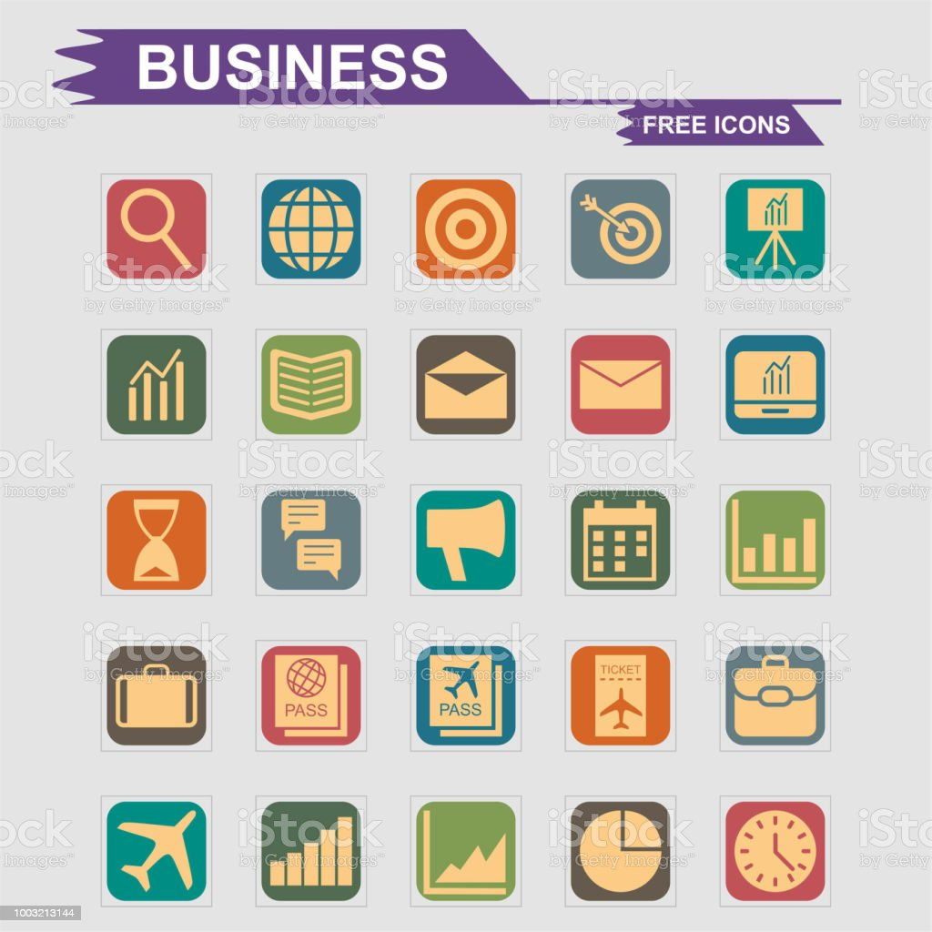 Business icons set vector vector art illustration