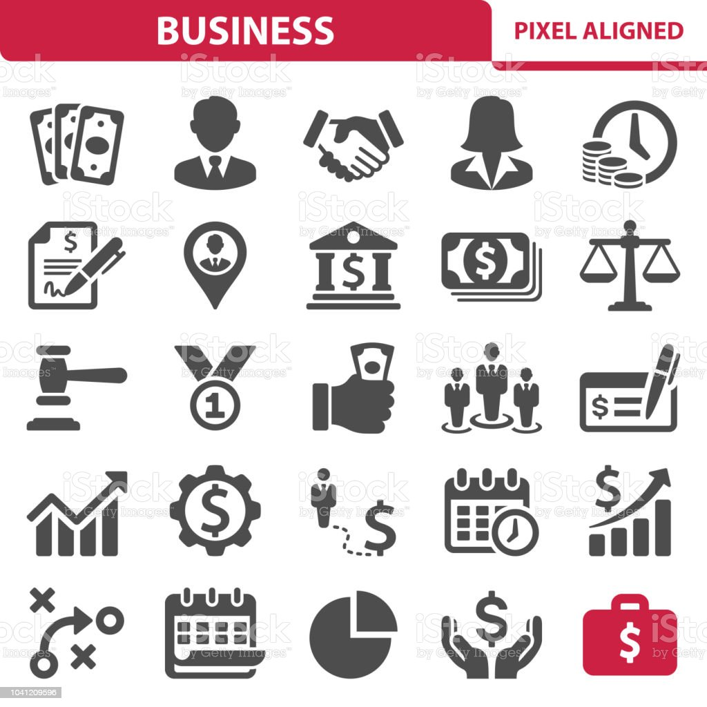 Business Icons Professional, pixel perfect icons, EPS 10 format. Icon stock vector