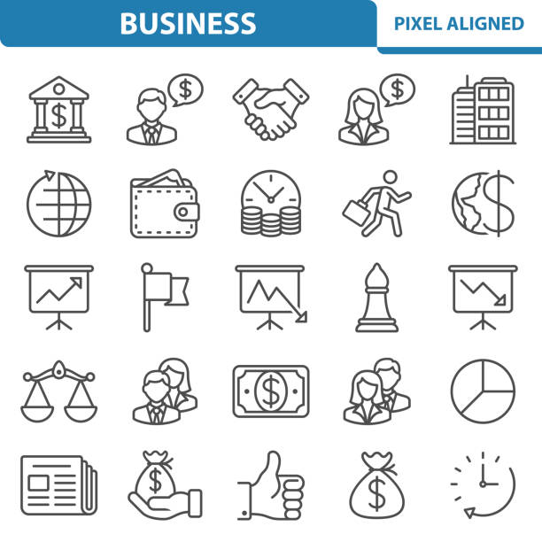 Business Icons Professional, pixel perfect icons, EPS 10 format. time is money stock illustrations