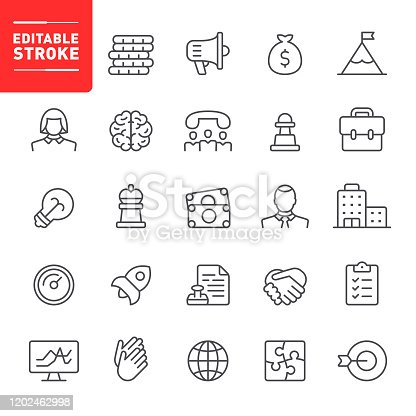 Business, startup, editable stroke, outline, icon, icon set, management, business strategy, businessman, office