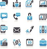 Set of 16 Business simple vector icons. Easy resize. All objects is layered.